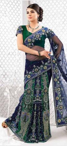 Emerald Green And Navy Blue Net Saree 9116 With Unstitched Blouse