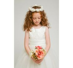 Ivory Tulle Flower Girl Dress | Ivory Lace Accented Satin Top and Tulle Overlaid Flower Girl Dress ...