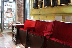Antique theater seats for the reception area. Theater Seats, Home Theater Setup, Home Theater Seating, Cinema Chairs, Cinema Seats, Salon Decorating, Home Hair Salons, Salon Furniture, Home Cinemas