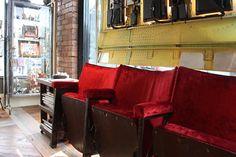 Antique theater seats for the reception area...Genius! Boilerhouse, Jesmond
