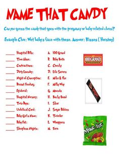 Name That Candy Baby Shower Game (Can Be Used for Any Themed Shower) via Etsy