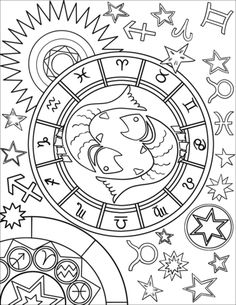 Pisces Zodiac Sign coloring page from Star signs category. Adult Coloring Book Pages, Printable Adult Coloring Pages, Cute Coloring Pages, Mandala Coloring Pages, Animal Coloring Pages, Coloring Pages To Print, Coloring Books, Pisces Color, Zodiac Signs Colors