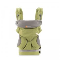 A machine washable cotton baby carrier that allows caregivers to carry baby four ways.