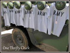 Army party attire! Army jeep!