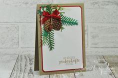 born2stamp STAMPIN' UP! Weihnachtskarte - Tannenzauber - Thinlits Tannen und Zapfen - Mini-Tannenzapfen
