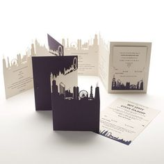 cut out skyline wedding invitation Affordable Wedding Invitations, Laser Cut Wedding Invitations, Wedding Stationary, Cheap Invitations, Stationary Design, Wedding Cards, Wedding Events, Wedding Blog, Wedding Music