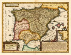 Antique map of Spain and Prtual, Joan Janssonius, 1650