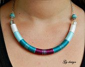 Green purple statement necklace/ handmade wrapped/ rope por Gydesi