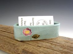 Business Card Holder in Turquoise with Spring Flower Design - by DirtKicker Pottery