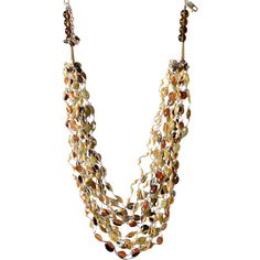 Citrine, Green Garnet, Hesonite, Red Garnet, Smoky Quartz and cultured Freshwater Pearls Necklace