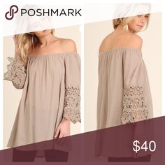 """📣 Liquidation 📣 Latte Off the Shoulder Tunic Latte Off the Shoulder Tunic Top with Crochet Sleeve Detail.  Small measures 18 1/2"""" across the bust and is 26"""" long.  Medium measures 20 1/2"""" across the bust and is 26"""" long. Large measures 21 1/2"""""""" across the bust and is 27"""" long. Color Latte. Material content: 55% cotton and 45% polyester.  Personal note bin srss. Tops Blouses"""