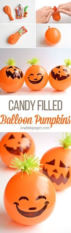Candy Filled Balloon Pumpkins Halloween Party Favors These candy filled balloon pumpkins are AWESOME favors for Halloween parties! Theyre super inexpensive and really quick to make! Imagine the party games you could play! Source by cutediyprojects Theme Halloween, Fröhliches Halloween, Adornos Halloween, Manualidades Halloween, Halloween Party Favors, Halloween Snacks, Halloween Disfraces, Halloween Birthday, Halloween Activities