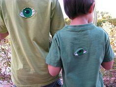 Reverse applique eyeball t-shirts!