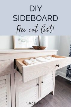 Want to build a sideboard full of storage for your dining room? Check out these free DIY buffet table plans! Complete with a printable cut list! Add beauty and function to your space today. #diningroomdecor #diningroomfurniture #diningbuffet