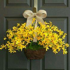 Artículos similares a spring wreath Easter wreaths yellow forsythia wreath front door wreath, decorations, burlap bow spring wreath en Etsy Front Door Decor, Wreaths For Front Door, Door Wreaths, Easter Wreaths, Holiday Wreaths, Holiday Decor, Wreath Crafts, Diy Wreath, Wreath Ideas
