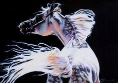 horse art Arabian stallion colorful unique colore#horse #art #painting