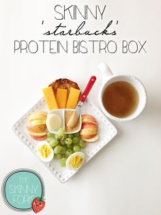 Skinny 'Starbucks' Protein Bistro Box - I eat this for lunch sooo often! All that protein in such a small meal. Make ahead and have for lunch all week! - this looks yummy, 361 cals and 24 grams of protein plus fiber Lunch Snacks, Healthy Snacks, Healthy Eating, Healthy Recipes, Healthy Junk, Work Lunches, Detox Recipes, Boston Marathon, Starbucks Protein