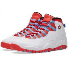 Nike Air Jordan 10 Retro ($225) ❤ liked on Polyvore featuring men's fashion, men's shoes, mens retro shoes, colorful mens shoes and nike mens shoes