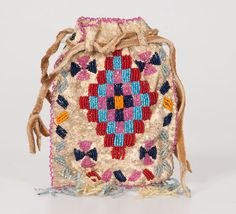 Apache Beaded Hide Bag Property of the Solon Historical Society, (8/18/2014 - American Indian Art : Timed Online Auction)