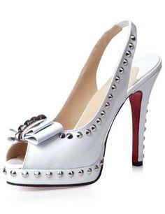 Decoration Red Bottom Shoes Sandals  Platform  Heel Height White Sheepskin Rivert Decor