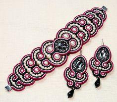 сутажный комплект: браслет и серьги