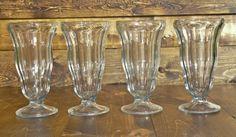 Vintage 1950's Milkshake Glasses -- Set of Four -- Dessert Glass, Vintage Glass, Fluted Glass -- Kitchen Decoration // $18.00