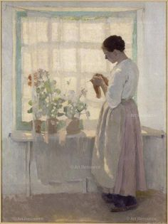 , 1890s, Curtain, Domestic, Interior, Depiction of, Knitting, Painting, Medium, Standing (Portraits, Figures), Window, General, WomanDetails Dessar, Louis Paul (1867-1952) © Copyright Clotilde. Ca. 1893. Oil on canvas, 100 x 75 cm. Inv.: 142. Photo: Gérard Blot.Location:Musee de la cooperation franco-americaine, Blerancourt, France