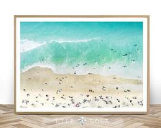 Beach Photography, Wall Art Print, Digital Download, Ocean Water Photo, Ariel People, Printable Large Poster, Coastal Decor, Drone Beach