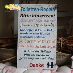 """Deko-Objekte - ShabbySchild """"Toiletten-Regeln"""" Weihnachtsgeschenk - ein Designerstück von handsart-handarbeit bei DaWanda"""