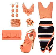"""""""Coral and Tribal Stripe"""" by donnalynnginn ❤ liked on Polyvore featuring Ted Baker, BCBGMAXAZRIA, Susan Graver, Forever 21, La Fille Des Fleurs and Charlotte Russe"""