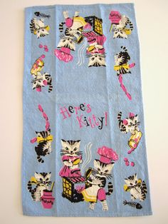 Vintage Heres KITTY Cat Towel by NeatoKeen on Etsy, $36.00