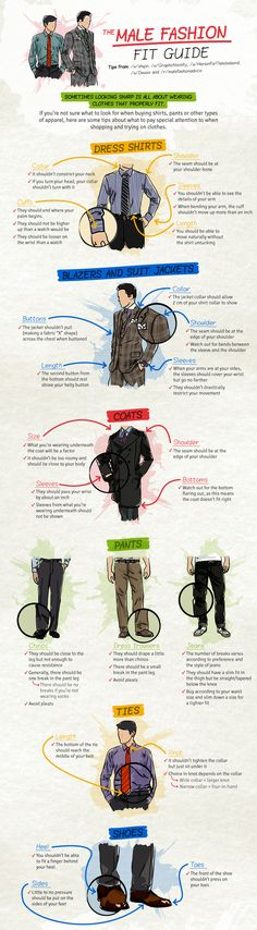 The male fashion fit guide for shirts, jackets, coats, pants, ties and shoes. Handleiding voor perfect zittende shirts, colberts, jassen, broeken, stropdassen en schoenen.