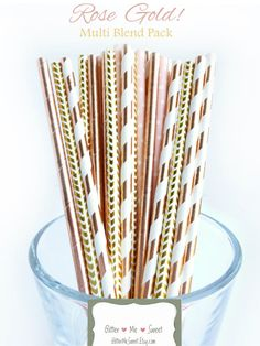 Rose Gold Metallic Paper Straws Beautiful metallic rose gold colors! - Choose your quanitity - These superior quality paper straws are the perfect elegant touch to any party event, whether a wedding, engagement party, bridal or baby shower, graduation party, or just for fun! - Includes mix of: striped, chevron, polka dot and solid pattern - Colors Include: Shades of rose gold foil, gold foil and blushy pink - These straws are sturdy and will hold up in your drinks, milkshakes, cocktails,...