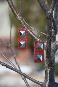 Pyramid studded leather earrings by LeeBeeJewelry on Etsy, $19.00