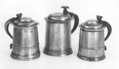 The earliest surviving pewter tankards date from the mid century