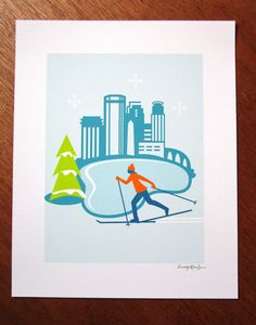 I drew this image to celebrate the cross country skiers in Minneapolis. The Loppet Ski Festival is a huge event that includes thousands of family
