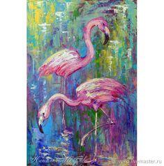 """Картина фламинго """"Розовый Танец"""" масло птицы абстракция – купить в интернет-магазине на Ярмарке Мастеров с доставкой - F4EB9RU Mosaic Birds, Diy And Crafts, Watercolor, Pets, Artwork, Women's Fashion, Food, Animals And Pets, Art Work"""