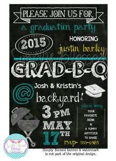 Chalkboard BBQ Graduation Party Invitation by SimplyBlessedDesign