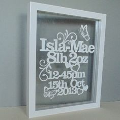 Personalised New Baby Papercut Wall Art Celebrate your baby's birth with something unique for the nursery wall