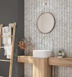 Check out our removable wallpaper geometric selection for the very best in unique or custom, handmade pieces from our wallpaper shops. Chevron Wallpaper, Modern Wallpaper, Half Bathroom Wallpaper, Diy Wallpaper, Wallpaper Designs, Wallpaper On Furniture, Interior Design Wallpaper, Handmade Wallpaper, Powder Room Wallpaper