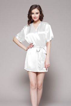 2aeb60090c 22 Momme Mid-Length Silk Robe. Mulberry SilkMid LengthHalf SleevesRobesSlip  OnRobe. Ladies short silk robe with half sleeve. Lilysilk