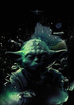 Star Wars: Yoda Poster Created by Nuno Miguel de Azevedo Star Wars Jedi, Star Wars Art, Star Trek, Kit Fisto, Starwars, Star Wars Pictures, Saga, Star Wars Humor, Mara Jade