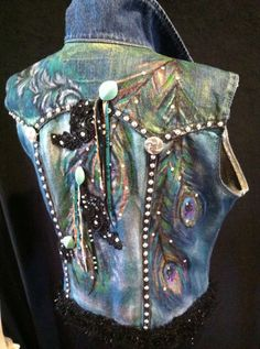 Hand painted denim vest. Made from up-cycled denim jacket then I work my magic! Custom orders always welcome! jbrewercreative@gmail.com