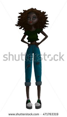 Raster Colorful Black Teen Fashion Illustration with a Black African or Hispanic…