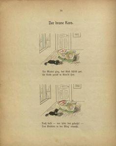 Seite:Die Gnomen und das Kartenhaus etc.djvu/16 – Wikisource  /… Der brave Karo.    Die Mutter ging, das Kind schläft gut; Es bleibt zurück in Karo's Hut.  Doch bald – wer hätte das gedacht! – Das Kindlein in der Wieg' erwacht.  …/