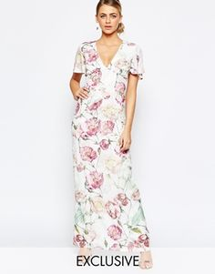Hope and Ivy Maxi Dress In Vintage Floral Print