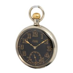 Rolex Open Face British Military Pocket Watch with Black Dial circa 1920s | I wonder if you could take a cool old pocket watch and make it wrist wearable?