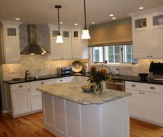 Traditional Island Style Teal kitchen, white cabinets, $20,000 - $50,000, Karen Kennedy , Other