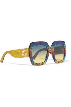 2c1cde1b65 Gucci - Square-frame Glittered Acetate Sunglasses - Gold