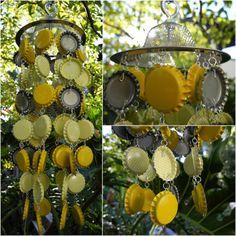 Yellow White Polka Dot Beer Bottle Cap Custom Recycled Handmade Wind Chime. Hunh. Who'da thought it?? jkb
